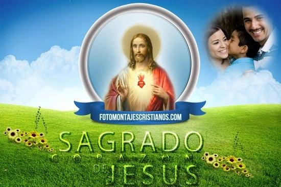 fotomontajes cristianos con el sagrado corazon de jesus