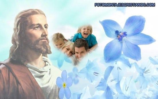 fotomontajes de jesus con flores celestes