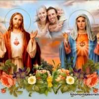 Fotomontajes del Sagrado Corazón de Jesús y la Virgen María