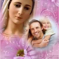Fotomontajes religiosos de la Virgen María con flores