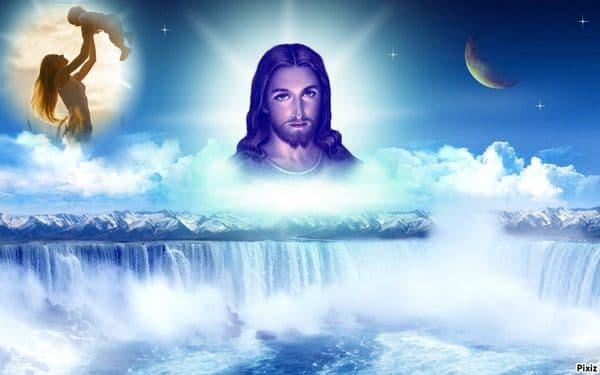 Fotomontaje de Jesus en el cielo