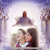 Fotomontaje de Jesús con Ángeles en el cielo