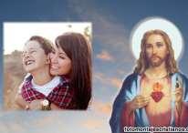 Fotomontaje cristiano con la imagen de Jesús
