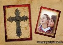 Fotomontaje religioso de nuestra foto al lado de una cruz