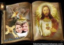 Fotomontaje en forma de libro con Jesús bendiciéndonos