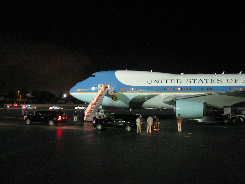 Air Force One at night.