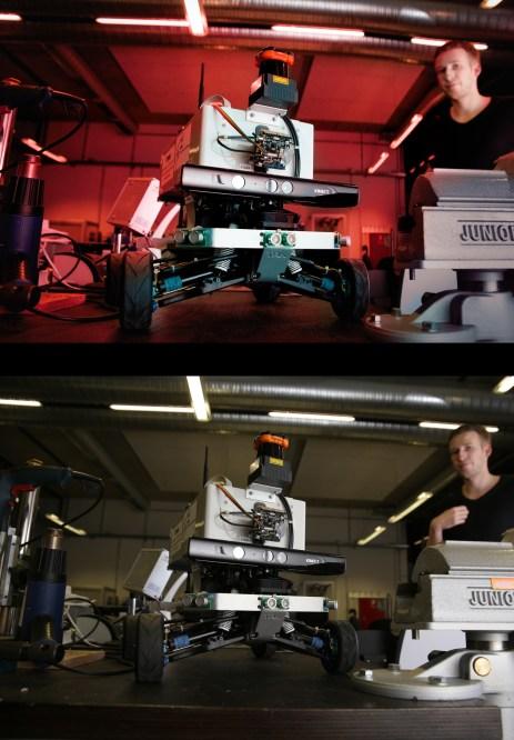 Ein Blitz, auf der Kamera, gebounct über Reflektor rechts, dann WB auf das graue Plastik, dann doppelte Raw-Entwicklung für den roten Look