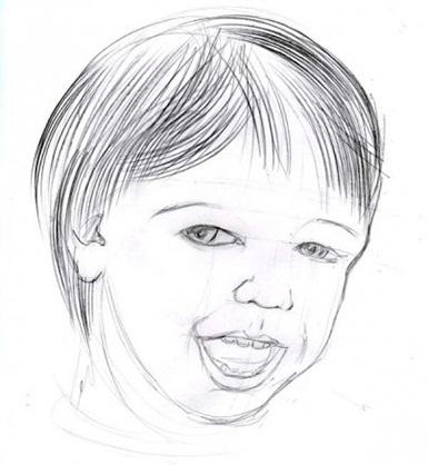 Djup detalj av ett barns ansikte