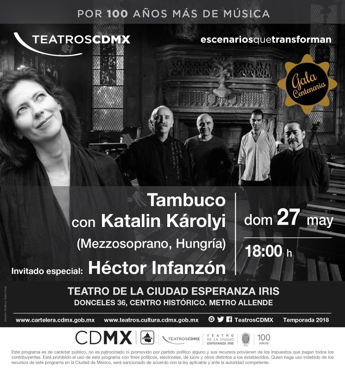 Tambuco ofrecerá Concierto de Gala con la participación de Katalin Károlyi y Héctor Infanzón