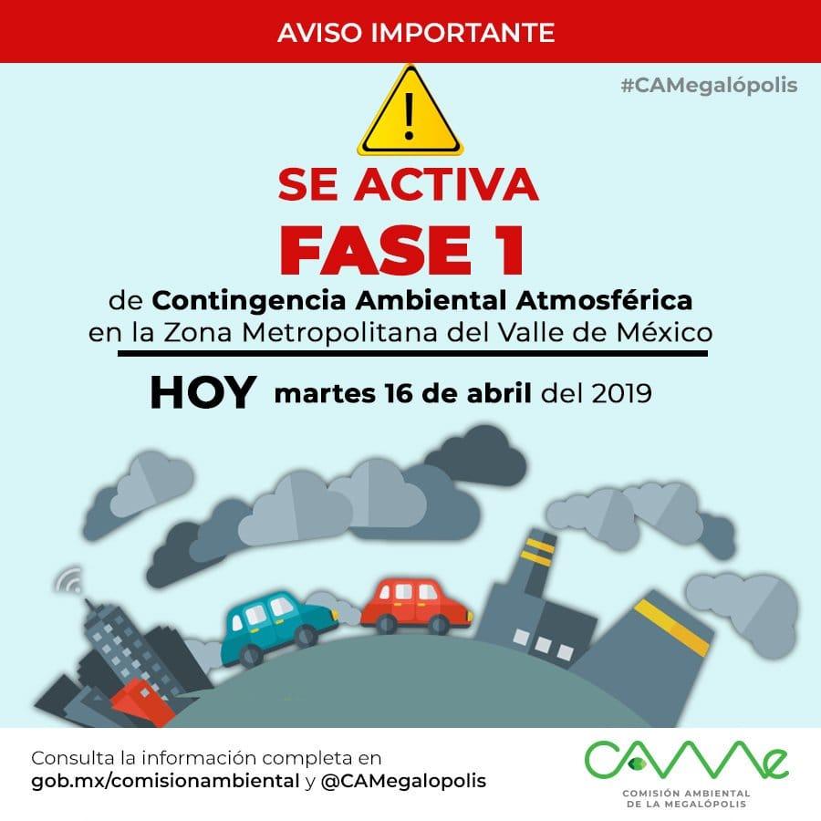 Se activa Fase 1 por contingencia ambiental en CDMX