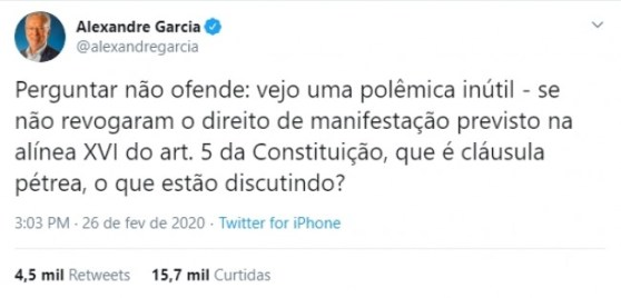 Publicação de Alexandre Garcia no Twitter