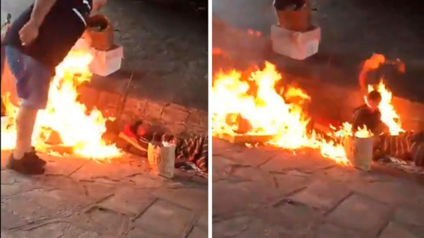 Image result for homeless people set on fire