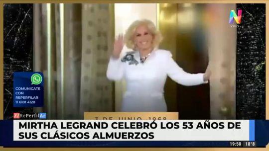 Mirtha Legrand compartió un emocionante video en sus redes para festejar los 53 años de su programa