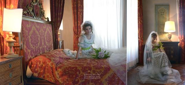 La camera con il letto a baldacchino, nella foresteria.