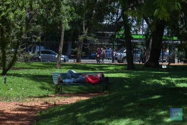 Fotografía callejera de una señor durmiendo en el jardín botánico