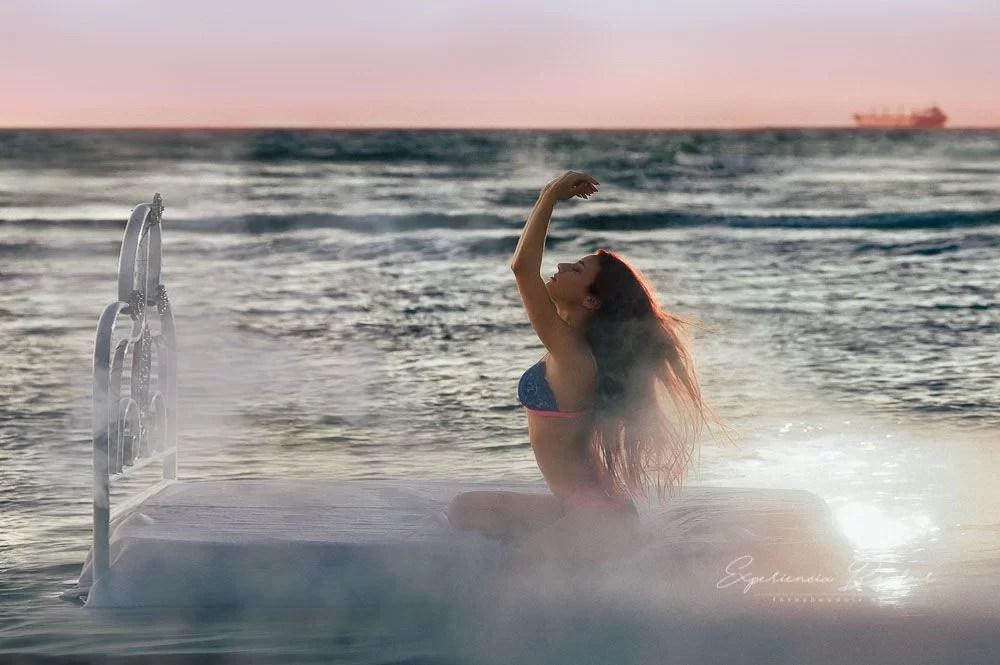 Toma final sesión de fotos sensual playa