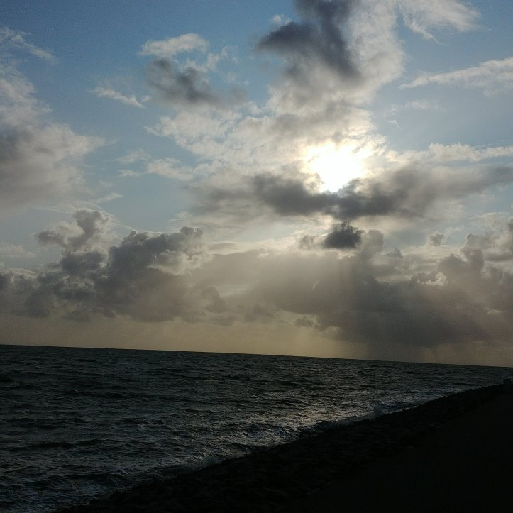 Photo of a cloud eagle over the dark, stormy nort sea.