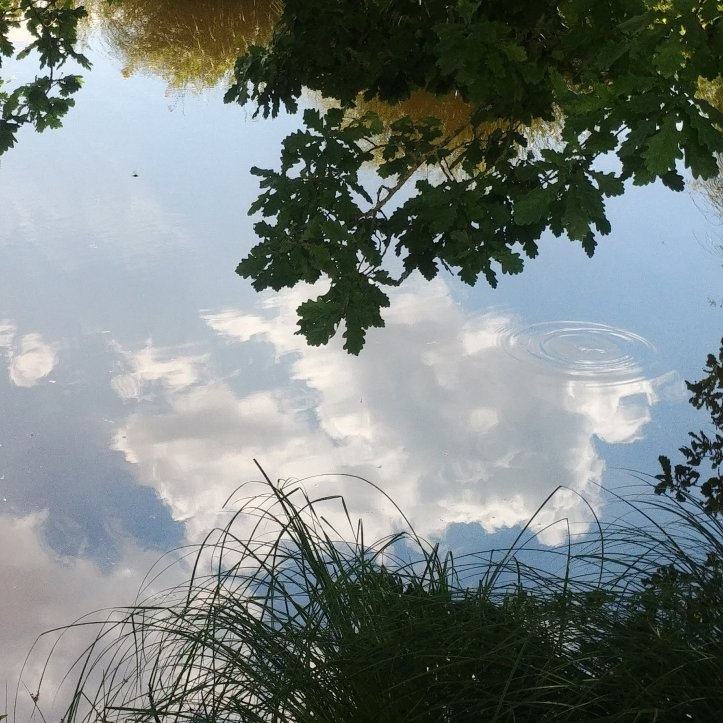 White cloud and blue sky reflecting in the water, nature photo by fotosbykarin