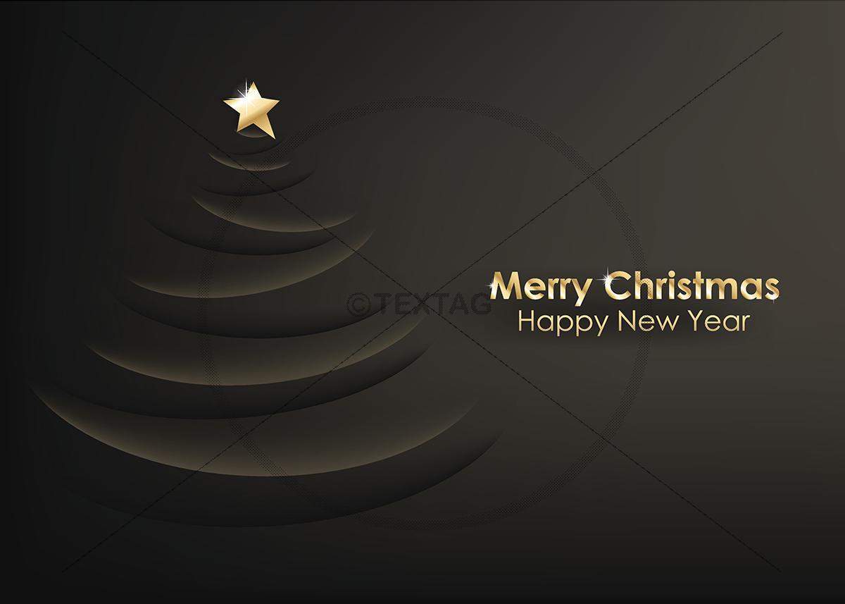 Extravagante Weihnachtskarte Merry Christmas Schwarz
