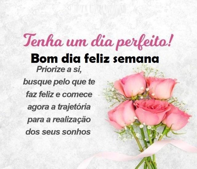 Bom dia! seja feliz e busque o que te faça feliz sempre feliz semana