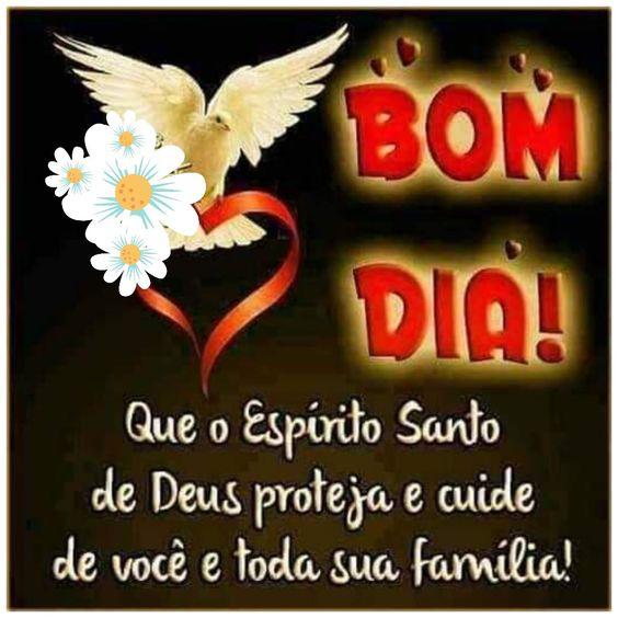 Que o Espirito Santo de Deus proteja e cuide de você e sua família nesta manhã