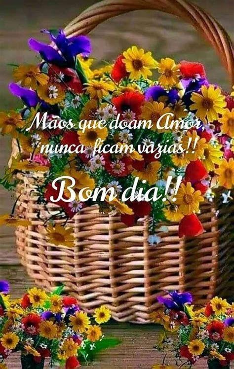 Bom dia com uma cesta de flores para você