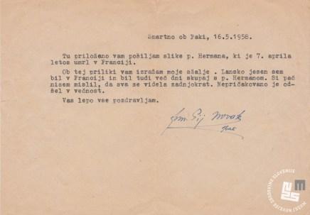 Sporočilo opata Pija Novaka o smrti p. Hermana Vodenika. Last Nete Timer.
