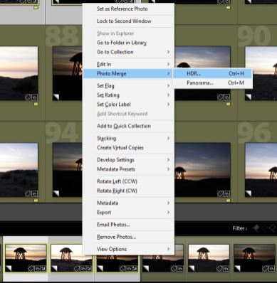 The Lightroom HDR feature is accessed by right clicking the selected images