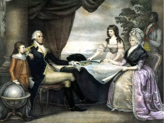 Painting of George Washington with his family, wife Martha and her grandchildren, by artist Edward Savage.
