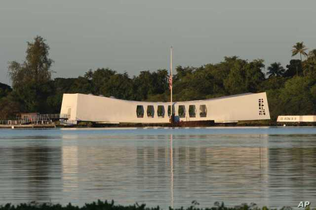 The USS Arizona Memorial is shown during a ceremony to mark the 78th anniversary of the Japanese attack on Pearl Harbor,…