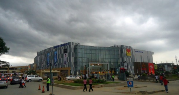 The Phoenix Mall, Mahadevapura, amidst menacing dark grey clouds