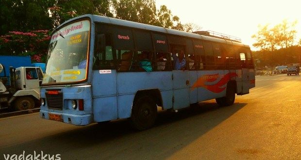 A TNSTC Express Bus plying between Bangalore and Salem.