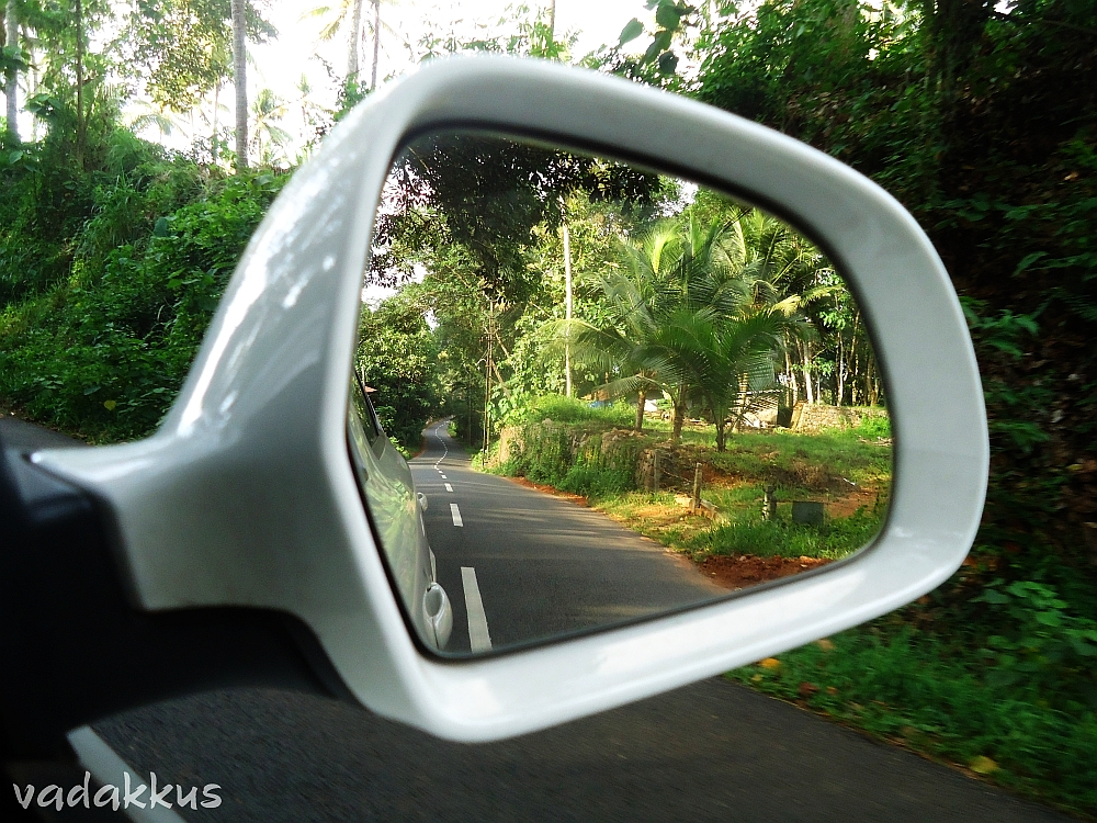 The Winding Road as seen through the rearview mirror.