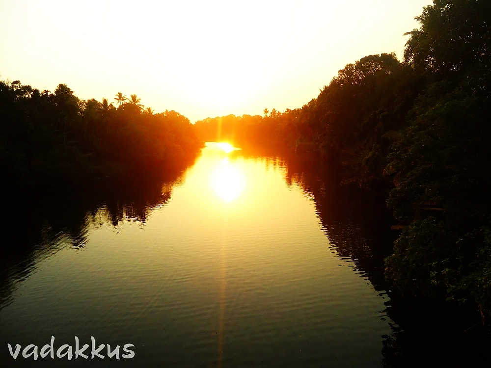 The Sun sets over a backwater in Kerala