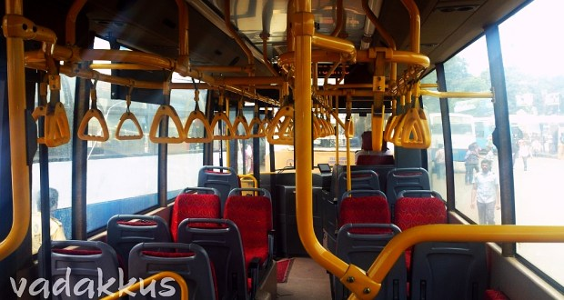 The red Interiors of a brand new BMTC Volvo bus!