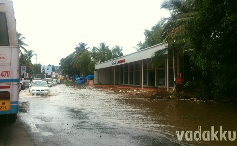 Broken and Flooded MC Road near Tiruvalla, Kerala