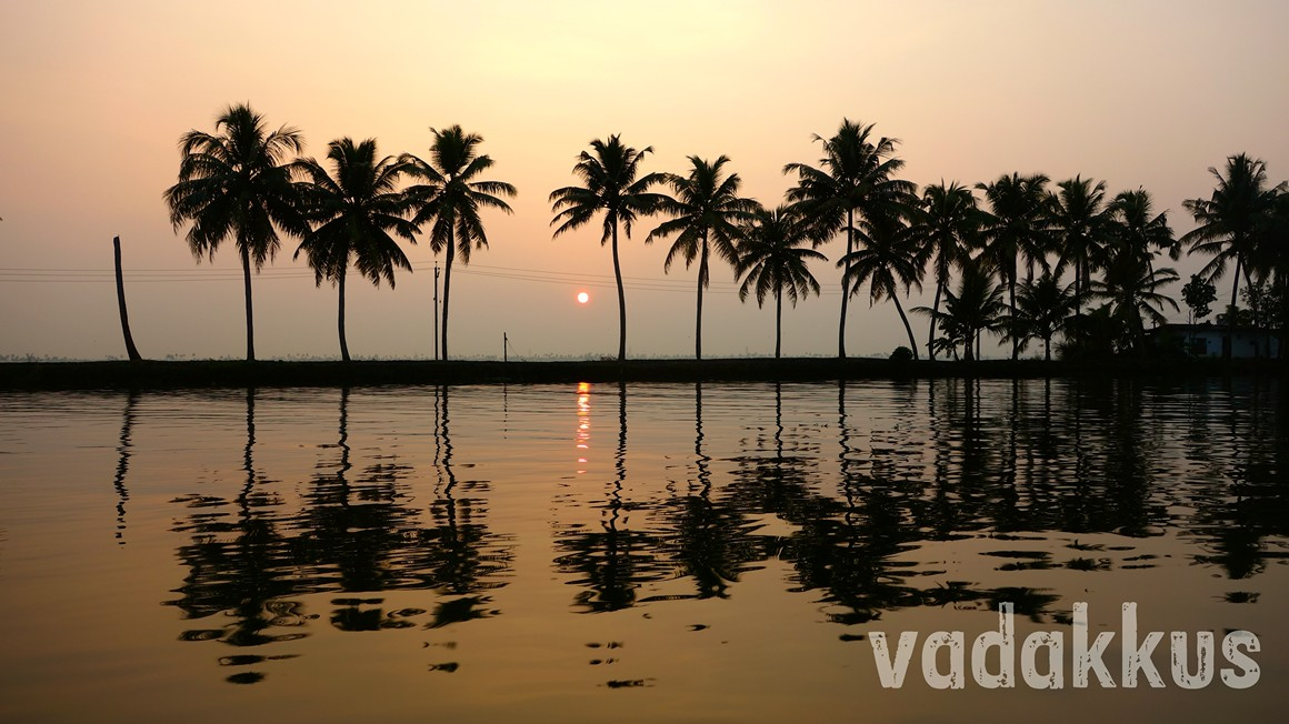 Palm fringed waters in Kuttanad in Kerala in the evening