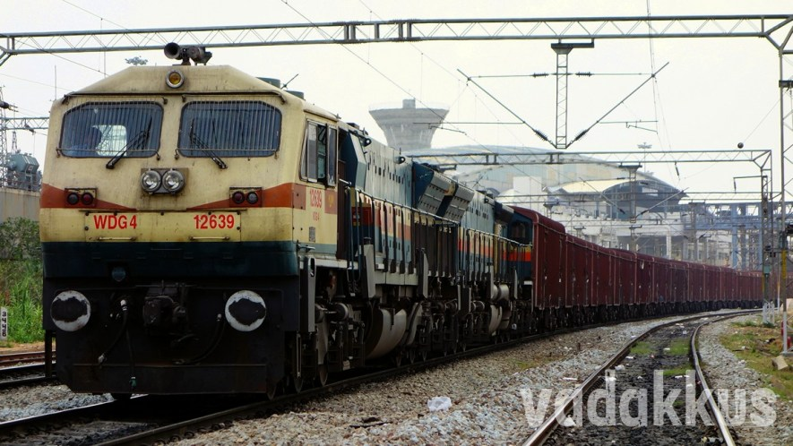 Twin WDG4 Diesel Locomotives Haul a Long Freight Train