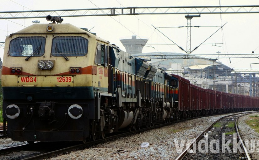A goods train hauled by twin WDG4 Diesel locomotives