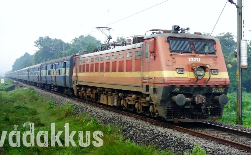 "Full Length: WAP4 ""Rear View Mirrors"" 22221 with 13351 Tata Express"