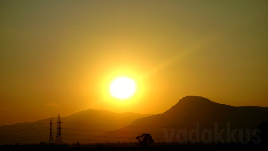 A Sunset Over Distant Hills in a Blaze of Glory!