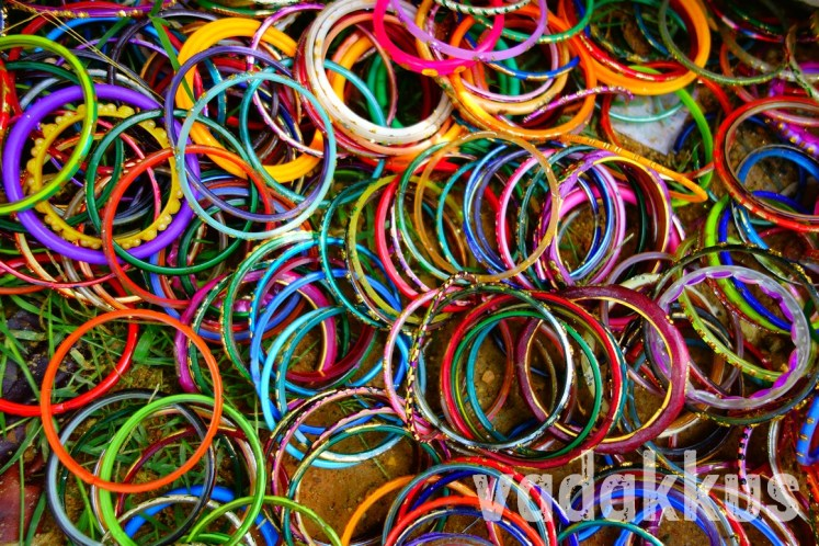 Lots of Colorful Bangles Lying on the Ground
