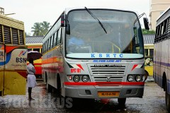"Front View of KSRTC's New ""Silver Line Jet"" Bus at Thrissur"
