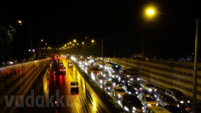 One-Sided Nightly Traffic Jam on Bangalore Outer Ring Road