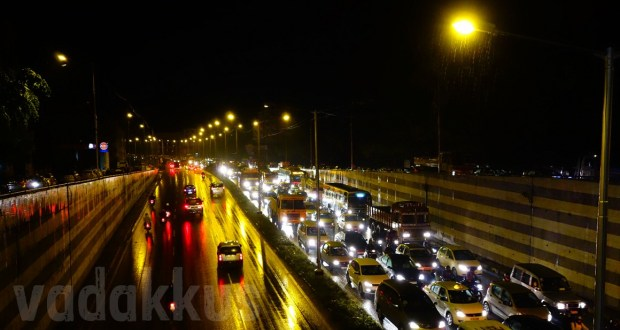 Traffic Jam in Bangalore Outer Rind Road in the middle of a rainy night
