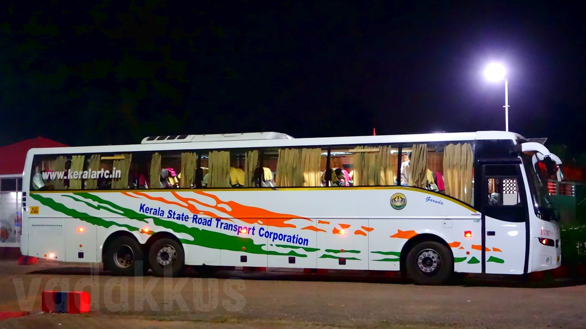 Kerala KSRTC Volvo B9R Multi-Axle bus from Kottayam to Bangalore