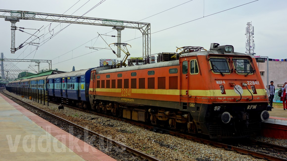 Indian Railways electric locomotive RPM WAP4 22841 Kochuveli Bangalore Express