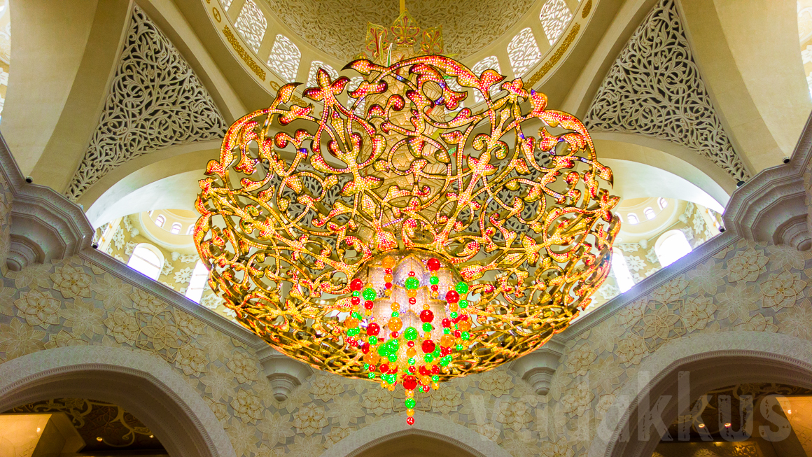 A Chandelier At The Sheikh Zayed Grand Mosque Abu Dhabi