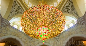 A chandelier at Sheikh Zayed Grand mosque Abudhabi in UAE