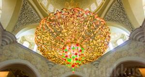 A chandelier at Sheikh Zayed Grand mosque Abudhabi in UAE